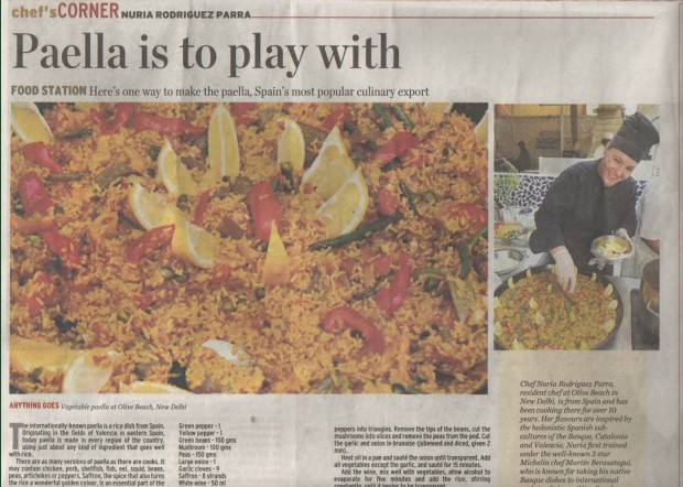 Chef Nuria in The Hindu - Metro Plus
